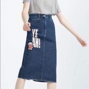 NEW Zara Long Denim Skirt YEAH! Sequin Popcorn